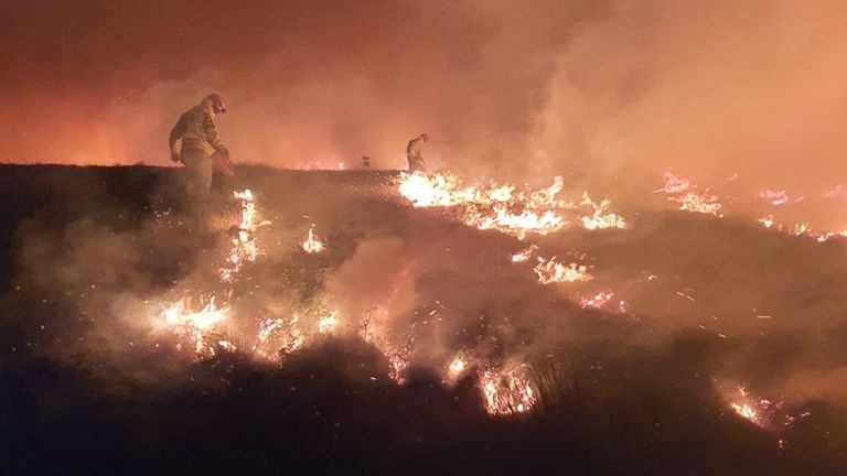 Miles of forest have been destroyed. Pic: Lancashire Fire and Rescue. Pic: Lancashire Fire and Rescue