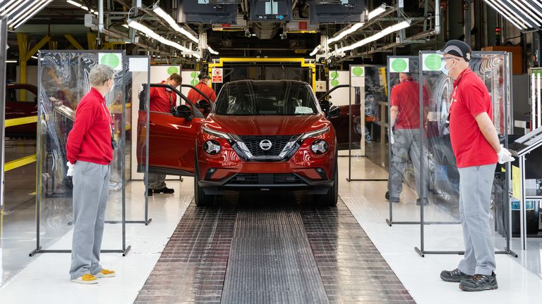 Production resumes at Nissan's Sunderland plant in June as the COVID-19 pandemic eases. Pic: Nissan