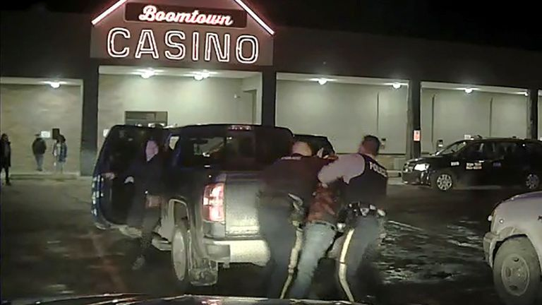 Video of an indigenous chief's violent arrest has shocked Canada, turning a spotlight on systemic racism in the country's police force. The footage shows Athabasca Chipewyan First Nation Chief Allan Adam being floored and repeatedly punched by a Royal Canadian Mounted Police officer. The confrontation took place in Fort McMurray, Alberta, on 10 March. Pic: Reuters
