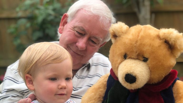 Fred Pearce, 76, enjoying a teddy bear's picnic with his grand-daughter in Lyme Regis. 13/06/20