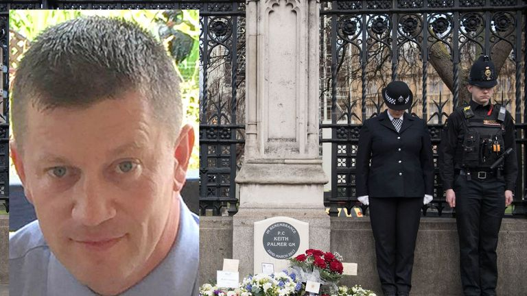 PC Keith Palmer was stabbed to death in 2017 by terrorist Khalid Masood, who stormed the gates near parliament having fatally mown down four pedestrians on Westminster Bridge.