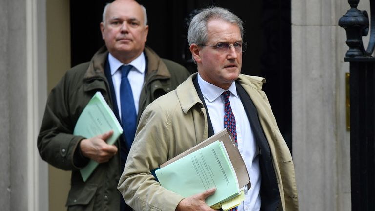 Tory MPs Owen Paterson (R) and Iain Duncan Smith exiting Number 10 Downing Street in October 2019