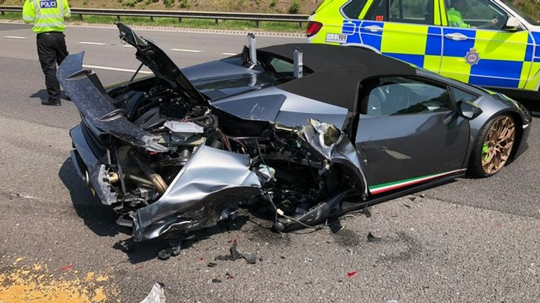 The Lamborghini was being taken for a spin by its new owner when it was hit from behind Credit: West Yorkshire Police