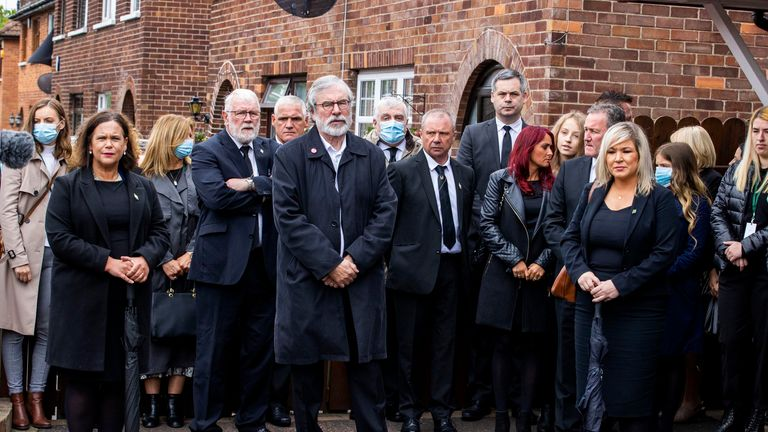 From left to right in the front row: Sinn Fein president Mary Lou McDonald, was joined by vice president Michelle O'Neill and former president Gerry Adams for the service