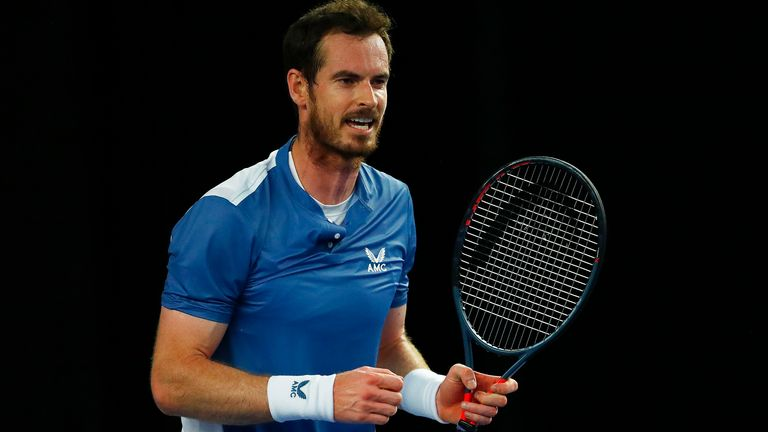 Andy Murray celebrates match point in his match against Liam Broady on day one of Schroders Battle of the Brits at the National Tennis Centre on June 23, 2020 in London, England