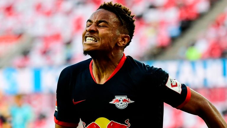 Leipzig's French midfielder Christopher Nkunku celebrates