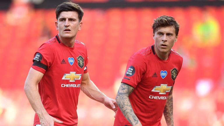 Harry Maguire and Victor Lindelof pictured against Sheffield United