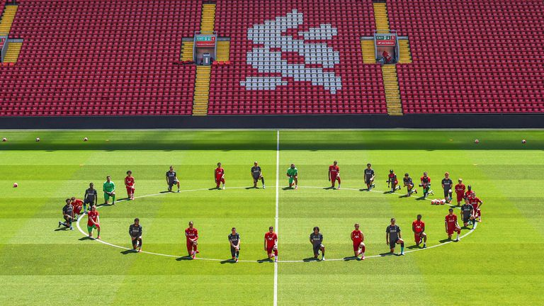 Liverpool players take a knee in memory of George Floyd at Anfield