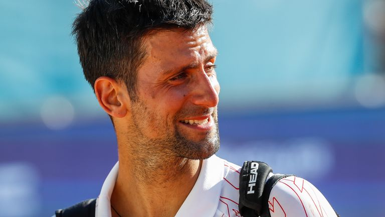 Novak Djokovic of Serbia reacts after the match against Alexander Zverev of Germany at the Adria Tour charity exhibition hosted by Novak Djokovic on June 14, 2020 in Belgrade, Serbia