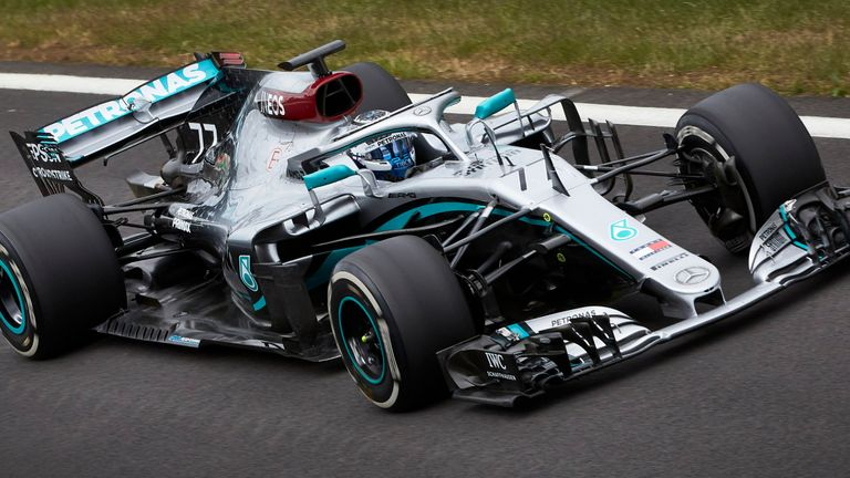 Watch footage from Silverstone as Valtteri Bottas put Mercedes back on track for the first time since February and new distancing and safety protocols.