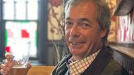 Nigel Farage tweeted this picture from the pub at midday on 4 July, when coronavirus restrictions eased. Pic: Twitter/ @Nigel_Farage