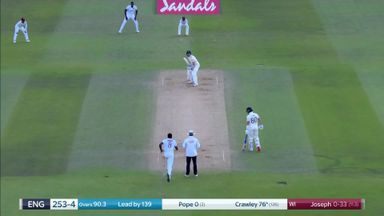 Joseph removes Crawley off own bowling