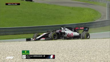 Stroll retires, Grosjean spins