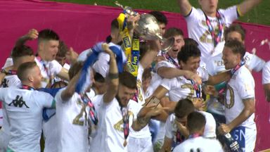 Leeds lift the Sky Bet Championship trophy