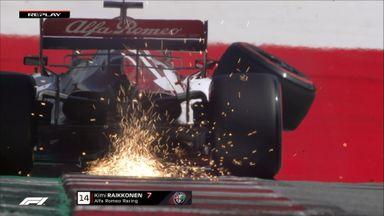 Raikkonen loses a front tyre!