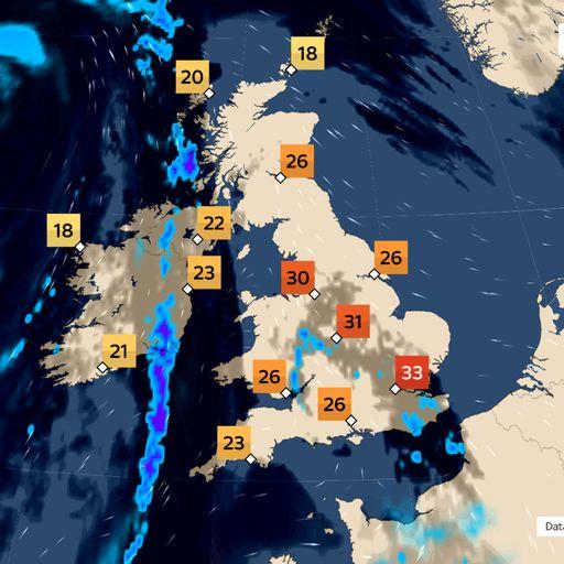 The latest Sky News weather forecast