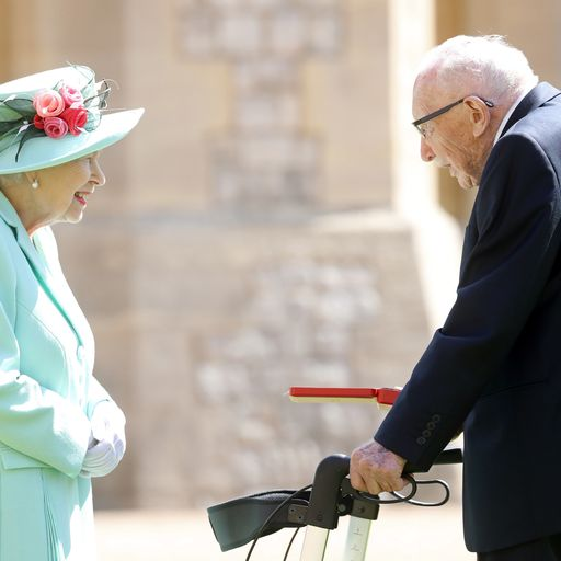 Captain Tom Moore knighted by the Queen during private ceremony at Windsor Castle