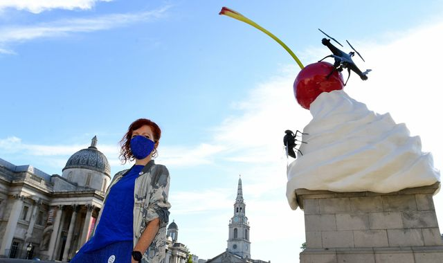 Fourth Plinth whipped cream and fly sculpture unveiled at Trafalgar Square
