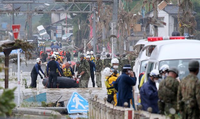Dozens dead after floods and mudslides in southern Japan