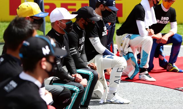 Lewis Hamilton joined in taking a knee by other drivers at Styrian GP