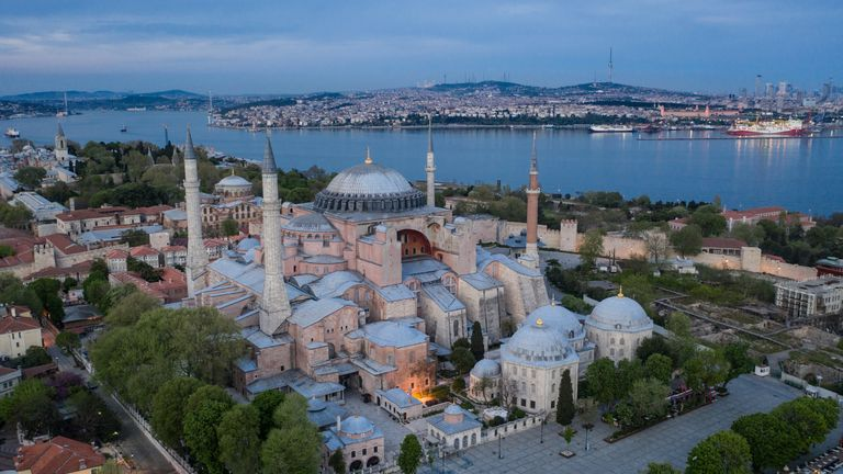 ISTANBUL, TURKEY - MAY 02: In this aerial photo from a drone, Istanbul's famous Hagia Sofia and surrounding gardens and pathways are seen empty during a weekend lockdown across Istanbul on May 02, 2020, in Istanbul, Turkey. As of May 02, according to the Health Ministry, Turkey has 3,336 Coronavirus related deaths and confirmed cases have risen to 124,375. Despite the rising numbers Turkey has avoided a full lockdown and continues to implement short lockdowns and constant revisions of current restrictions. The interior ministry continues restrictions on travel between 30 cities, a curfew continues to be in place for anyone over the age of 65 and under 20, schools, cafes, bars and non-essential businesses remain closed. (Photo by Chris McGrath/Getty Images)