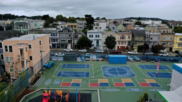 SAN FRANCISCO, CALIFORNIA - MARCH 18: An aerial view of the schoolyard at Frank McCoppin Elementary School on March 18, 2020 in San Francisco, California. As millions of Americans shelter in place in an attempt to slow the spread of the coronavirus, schools across the country are being closed. Nearly 99 percent of the schools in California are currently closed and it is unclear if they will be able to reopen before the start of summer break. (Photo by Justin Sullivan/Getty Images)