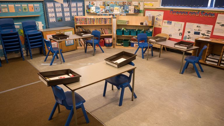 A classroom is seen, which has been rearranged with seating separated by 2m to provide an environment safe from Coronavirus for pupils and teachers at Marsden Infant and Nursery School in Marsden, near Huddersfield, northern England on May 18, 2020, ahead of the Government's proposed recommencing of education for Reception and Year 1 classes. - Marsden Infant and Nursery School is reducing class sizes to accommodate greater distancing between pupils as well as minimising any shared contact of stationery and learning materials. (Photo by OLI SCARFF / AFP) (Photo by OLI SCARFF/AFP via Getty Images)