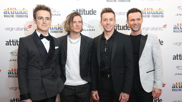 EDITORIAL USE ONLY McFly (left to right) Tom Fletcher, Dougie Poynter, Danny Jones and Harry Judd, attend the Virgin Atlantic Attitude Awards at the Roundhouse, London. PA Photo. Picture date: Wednesday October 9, 2019. Photo credit should read: Matt Alexander/PA Wire