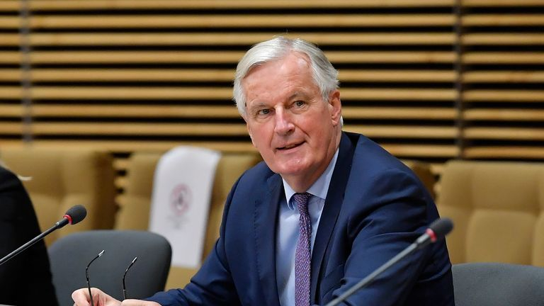 European Union's Brexit negotiator Michel Barnier attends to a meeting with Britain's Brexit negotiator and the Britain's ambassador to the European Union during post-Brexit negotiations at the EU headquarters in Brussels on June 29, 2020. - The EU and Britain launch an intense five weeks of negotiations on a deal to define their post-Brexit relations on June 29, 2020, with London keen to wrap things up quickly. The new round of talks in Brussels will be the first to be held face-to-face since the coronavirus shutdown combined with the two sides' entrenched positions to stall progress. (Photo by JOHN THYS / POOL / AFP) (Photo by JOHN THYS/POOL/AFP via Getty Images)