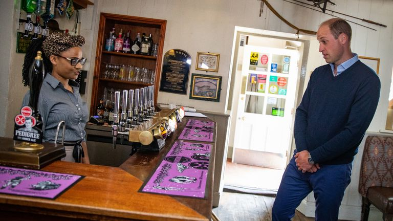 EMBARGOED TO 2230 BST FRIDAY JULY 3 The Duke of Cambridge orders an Aspalls cider at The Rose and Crown pub in Snettisham, Norfolk.