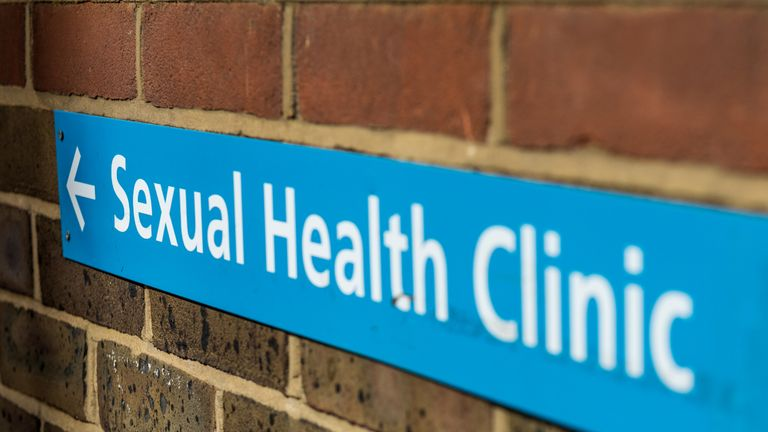 Sign for a sexual health clinic.
