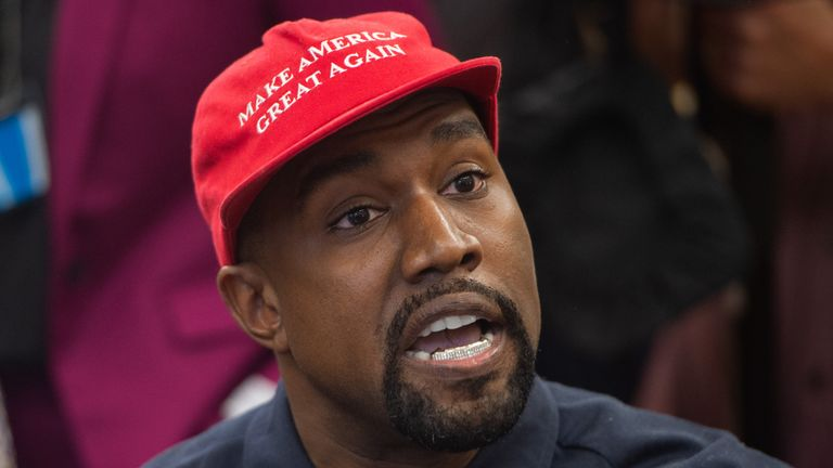 Rapper Kanye West speaks during his meeting with US President Donald Trump in the Oval Office of the White House in Washington, DC, on October 11, 2018. (Photo by SAUL LOEB / AFP)        (Photo credit should read SAUL LOEB/AFP via Getty Images)