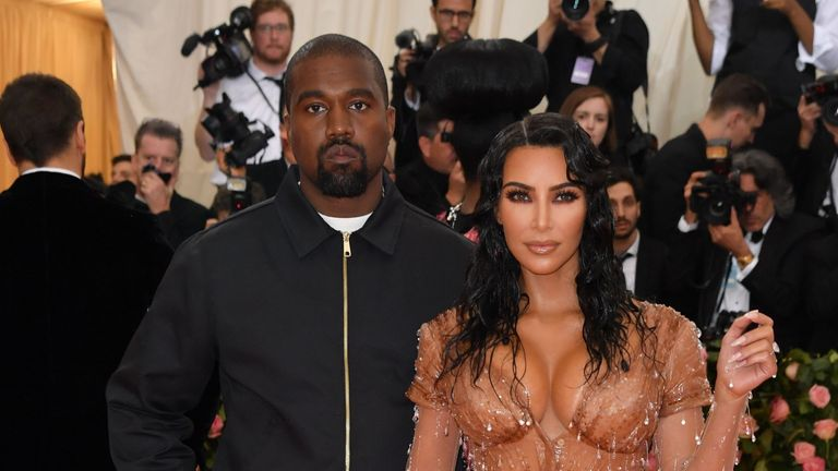 "Kim Kardashian and Kanye West arrive for the 2019 Met Gala at the Metropolitan Museum of Art on May 6, 2019, in New York. - The Gala raises money for the Metropolitan Museum of Arts Costume Institute. The Gala's 2019 theme is Camp: Notes on Fashion"" inspired by Susan Sontag's 1964 essay ""Notes on Camp"". (Photo by ANGELA WEISS / AFP)        (Photo credit should read ANGELA WEISS/AFP via Getty Images)"