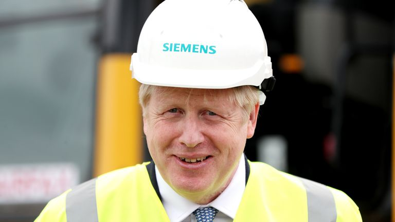 Prime Minister Boris Johnson, during a visit to the Siemens Rail factory construction site in Goole.