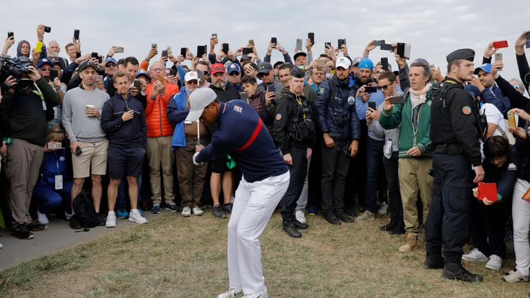 Tiger Woods of USA plays a shot from the rough near the 6th green in his morning four-ball match with Patrick Reed versus Fleetwood and Molinari of Europe during the 2018 Ryder Cup at Le Golf National near Versailles on September 28th 2018 in France (Photo by Tom Jenkins)