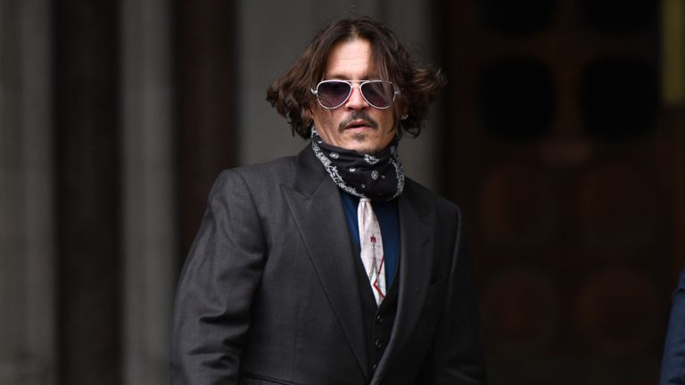 LONDON, ENGLAND - JULY 08:  Johnny Depp arrives at The Royal Courts of Justice, Strand on July 8, 2020 in London, England. The Hollywood actor is taking News Group Newspapers, publishers of The Sun, to court over allegations that he was violent towards his ex-wife, Amber Heard, 34. (Photo by Chris J Ratcliffe/Getty Images)
