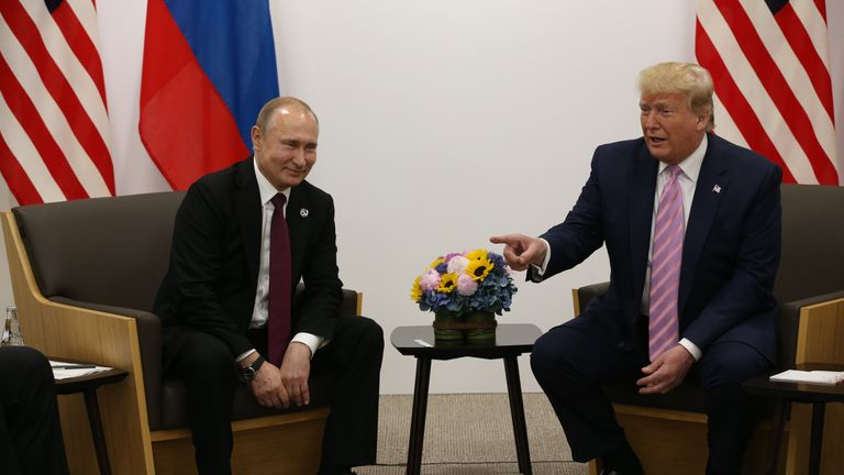 OSAKA, JAPAN - JUNE,28 (RUSSIA OUT) U.S. President Donald Trump (R) and Russian President Vladimir Putin (L) attend their bilateral meeting at the G20 Osaka Summit 2019, in Osaka, Japan, June,28,2019. Vladimir Putin has arrived to Japan to partcipate the G20 Osaka Summit and to meet U.S.President Donald Trump.  (Photo by Mikhail Svetlov/Getty Images)