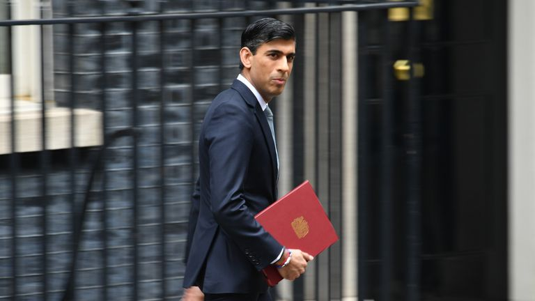 LONDON, ENGLAND - JULY 08: Chancellor of the Exchequer, Rishi Sunak in Downing Street on July 8, 2020 in London, England. The Chancellor is expected to announce today an immediate stamp duty holiday for homes up to £500,000, £2bn temporary job creation scheme for the under-25s and a £3bn programme to make homes and public buildings more environmentally friendly. (Photo by Leon Neal/Getty Images)