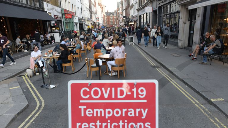 People socialising in Soho, central London, after the lifting of further coronavirus lockdown restrictions in England. Revellers are urged to remember the importance of social distancing as pubs gear up for the second weekend of trade since the lifting of lockdown measures.