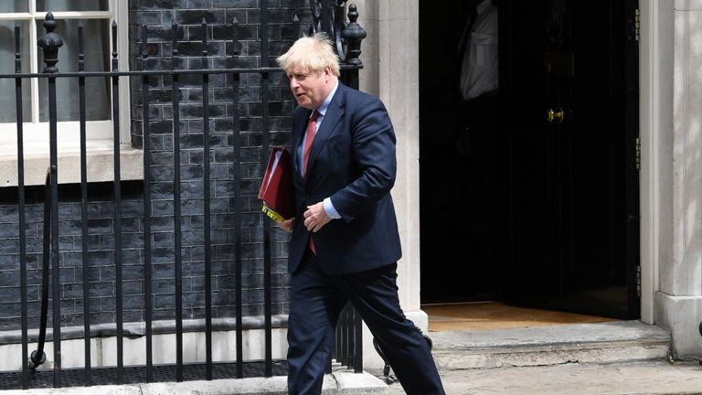 Prime Minister Boris Johnson departs 10 Downing Street, in Westminster, London, to attend Prime Minister's Questions at the Houses of Parliament.