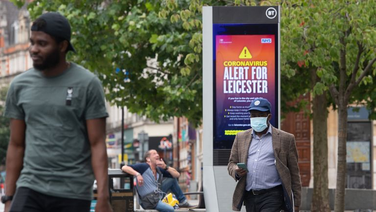 Coronavirus alert messages on a sign in the centre of Leicester, where localised coronavirus lockdown restrictions have been in place since June 29, with non-essential shops ordered to close and people urged not to travel in or out of the area. Health Secretary Matt Hancock is due to decide whether to make changes to Leicester's lockdown after examining the latest coronavirus data.