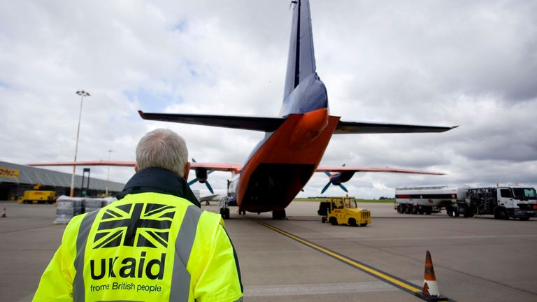 File photo dated 13/8/2014 of staff from UK Aid watching as cargo is loaded on to an Antonov An-12B aircraft at East Midlands Airport. Prime Minister Boris Johnson has announced that he has merged the Department for International Development (Dfid) with the Foreign Office, creating a new department, the Foreign Commonwealth and Development Office.
