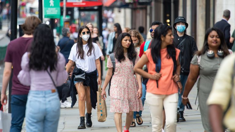 Shoppers on Regent Street, London, ahead of the announcement that it will soon be mandatory to wear a face covering in shops in England.