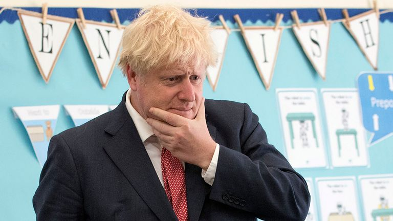 Britain's Prime Minister Boris Johnson reacts during his visit to The Discovery School in Kings Hill, south east England on July 20, 2020. (Photo by JEREMY SELWYN / POOL / AFP) (Photo by JEREMY SELWYN/POOL/AFP via Getty Images)