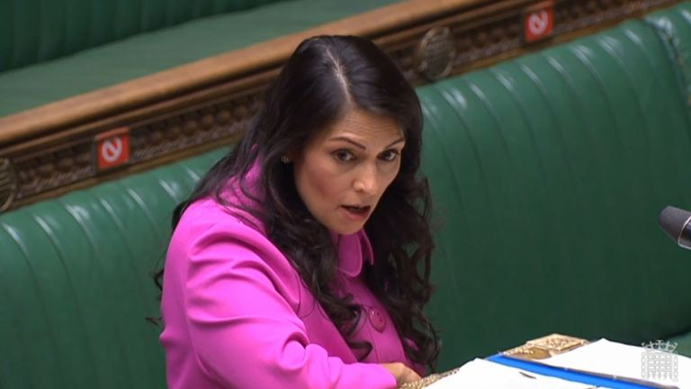 "Home Secretary Priti Patel making a statement to MPs in the House of Commons, London, where she promised a ""full evaluation"" of the hostile environment policy in the wake of the Windrush scandal."