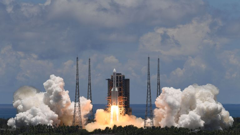 A Long March-5 rocket, carrying an orbiter, lander and rover as part of the Tianwen-1 mission to Mars, lifts off from the Wenchang Space Launch Centre in southern China's Hainan Province on July 23, 2020. (Photo by Noel CELIS / AFP) (Photo by NOEL CELIS/AFP via Getty Images)