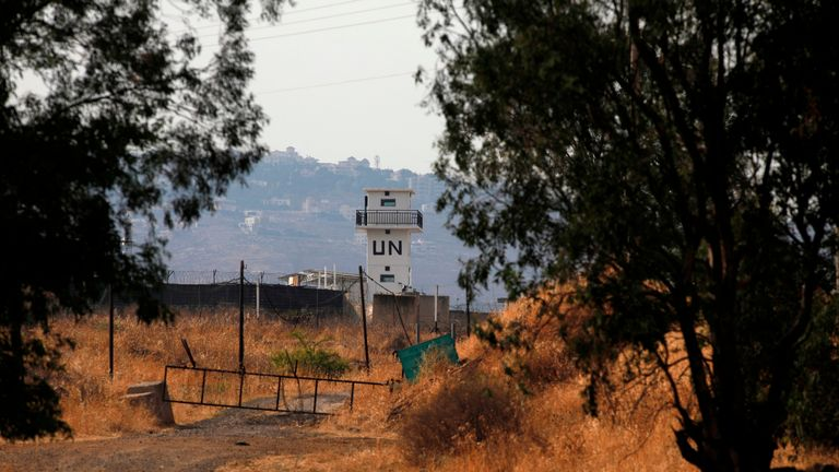 A picture taken from the Israeli side of the Blue Line that separates Israel and Lebanon shows a United Nations peacekeeping force UNIFIL monitoring post, amid reports of clashes in the border area, on July 27, 2020. (Photo by Jalaa MAREY / AFP) (Photo by JALAA MAREY/AFP via Getty Images)