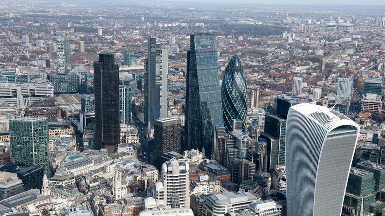 City of London, 2015. A cluster of tall buildings in the City. In the right foreground is the Walkie-Talkie building at 20 Fenchurch Street. Artist Damian Grady. (Photo by English Heritage/Getty Images)