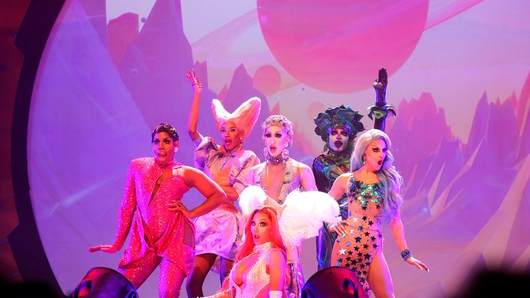 NEW YORK, NEW YORK - OCTOBER 19: (L_R) Monet, Naomi, Detox, Platique, Detox, Yvie and Aquaria perform during RuPaul's Drag Race: Werq The World 2019 at Hammerstein Ballroom on October 19, 2019 in New York City. (Photo by John Lamparski/Getty Images)