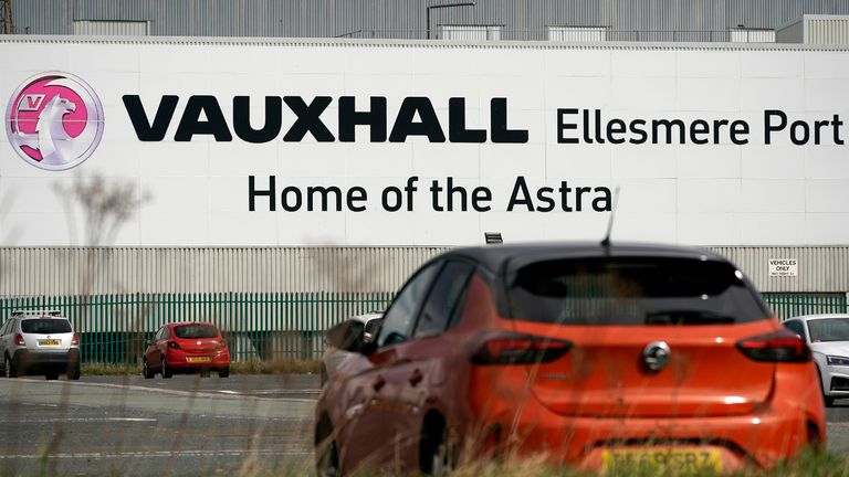 ELLESMERE PORT, - MARCH 17: Cars are parked outside the Vauxhall car assembly plant on March 17, 2020 in Ellesmere Port, England. The carmaker's parent company, PSA Group, said its plants would remain closed through March 27, citing a drop in demand and supply-chain disruption due to the COVID-19 outbreak. (Photo by Christopher Furlong/Getty Images)